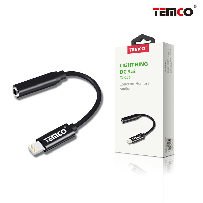 Cable Conector Hembra Audio Lightning Negro