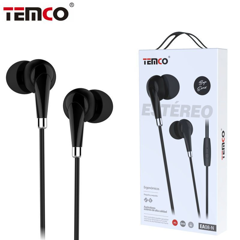 Auriculares 3.5mm EA08 Negro