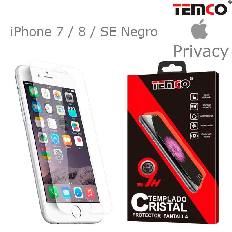 Cristal privacy iphone 7 / 8 / se negro