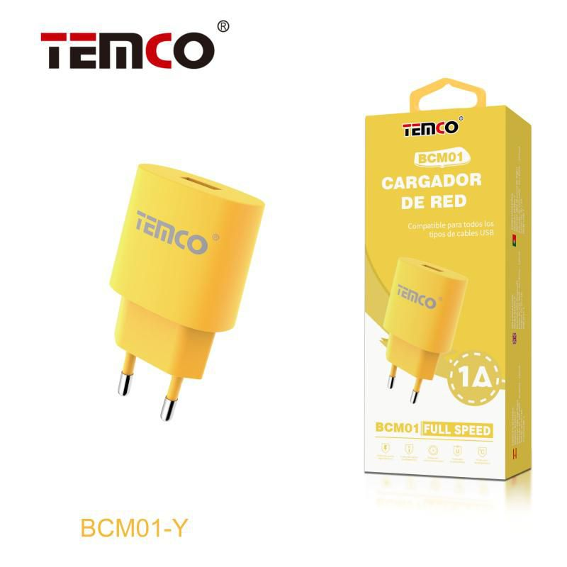 Cargador red usb 5v 1a amarillo