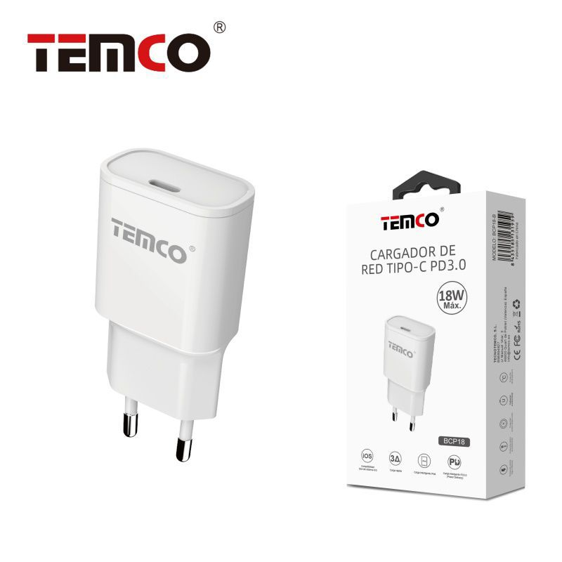 Cargador de red tipo c 18w pd3.0 blanco