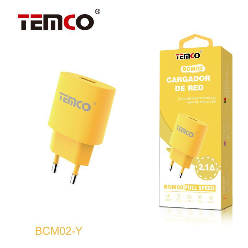 Cargador red usb 5v 2.1a amarillo