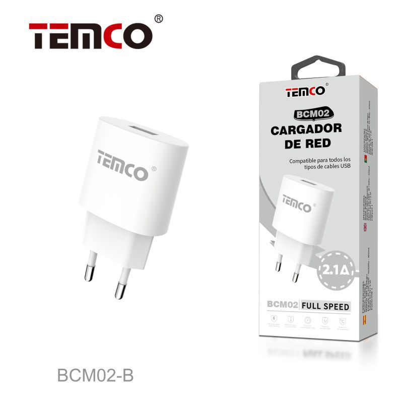 Cargador Red USB 5V 2.1A Blanco