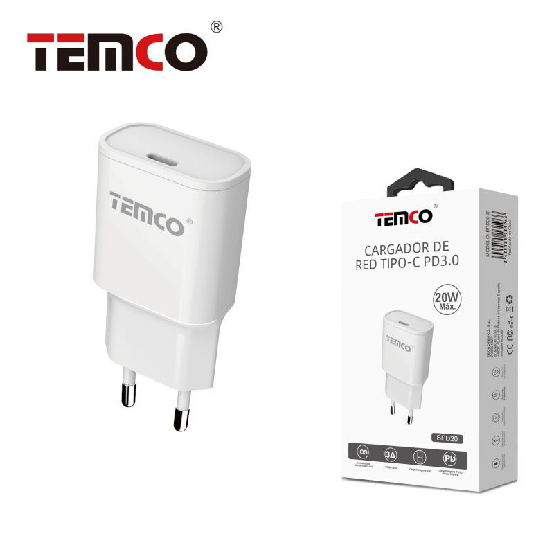 Cargador de Red Tipo C 20W PD3.0 Blanco