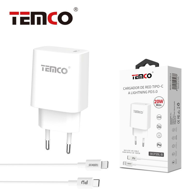 Pack Cargador USB-C PD20W+Lightning 3A1M Blanco